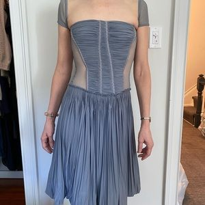 Blue and Mesh fitted dress